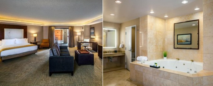 Jacuzzi suite in DoubleTree by Hilton Sonoma Wine Country Hotel, Rohnert Park, CA