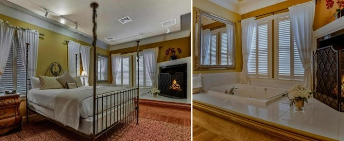 Jacuzzi suite with a fireplace in The Inn at Leola Village, Lancaster, PA
