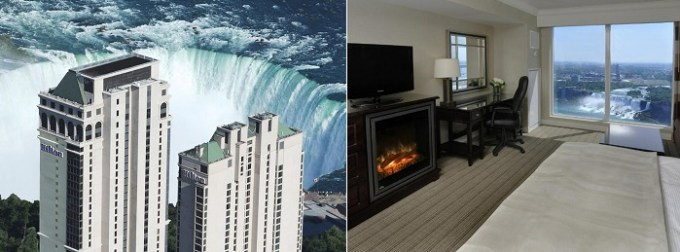 A Hotel suite with views of Niagara Fall in Hilton Niagara Falls- Fallsview Hotel and Suites