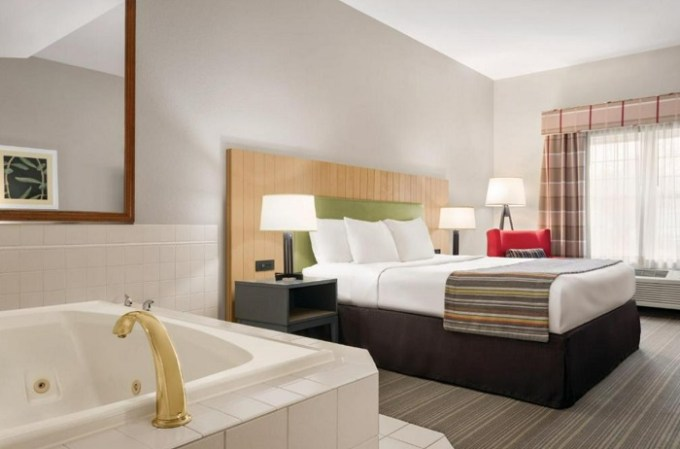 Hot tub suite in Country Inn & Suites by Radisson, Schaumburg, suburb of Chicago, IL