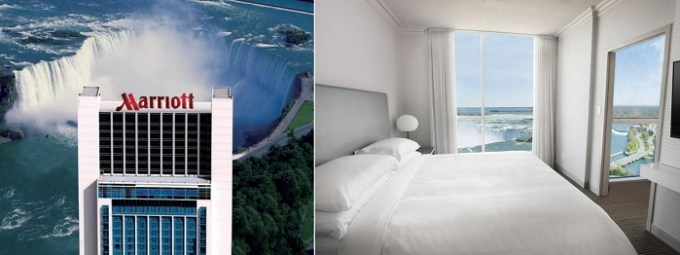 Hotel room with Niagara Fall Views in Niagara Falls Marriott on the Falls