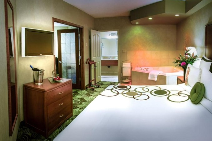 Suite with a hot tub in the room in Deerfoot Inn and Casino, Calgary, Alberta, Canada