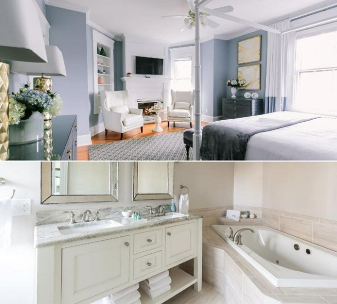 Romantic suite with a hot tub in Bayberry Inn of Newport, RI