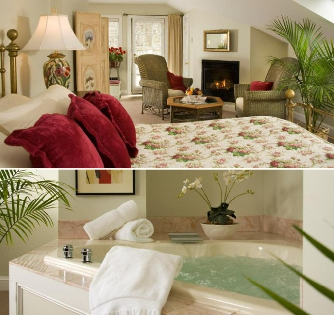 Suite with a spa tub in the room in Hydrangea House Inn, Newport, Rhode Island