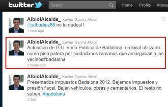 Primarul din Badalona anunta razii impotriva romanilor pe Twitter