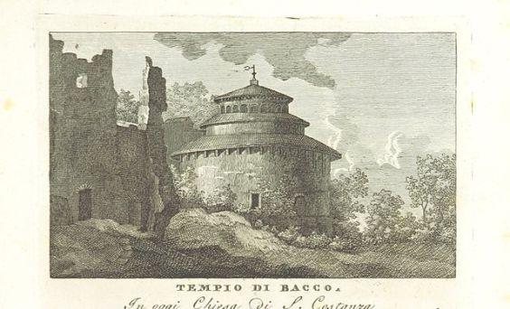 Cartão postal antigo do templo de Bacco-Mausoleo de santa Constança