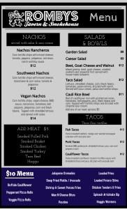 Romby's Tavern and Smokehouse 2021 Menu Page 2