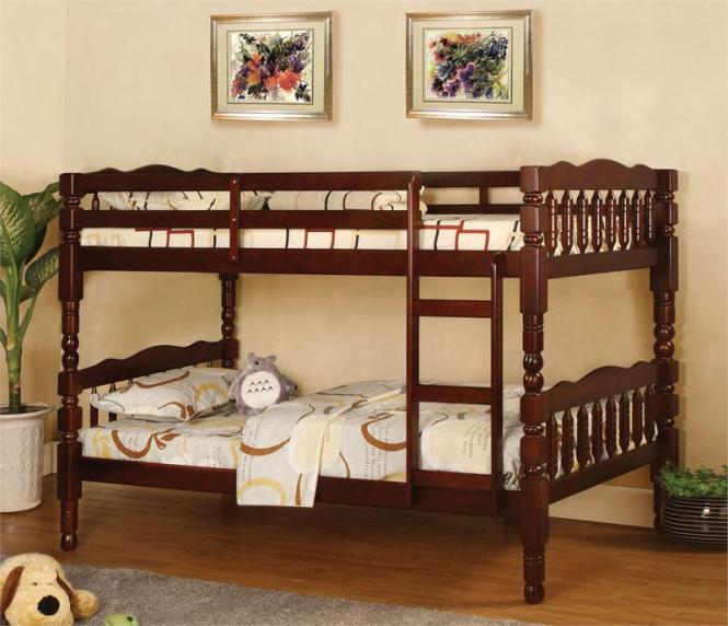 Cherry Twin Bunk Bed With 2 Mattress Package