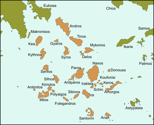 Greek Cyclades Island Map