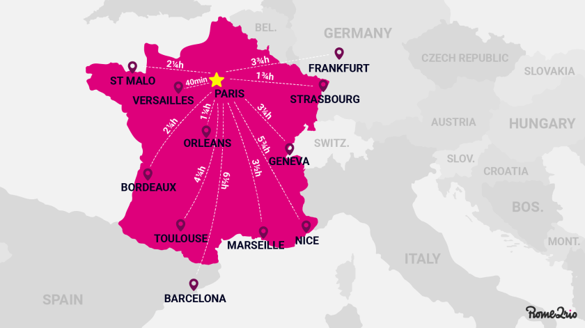 Map of France showing distance to French cities from Paris