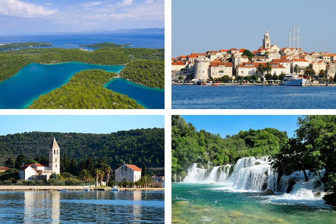 Mljet National Park, Korčula island, Vis island, Krka National Park waterfalls - Croatia