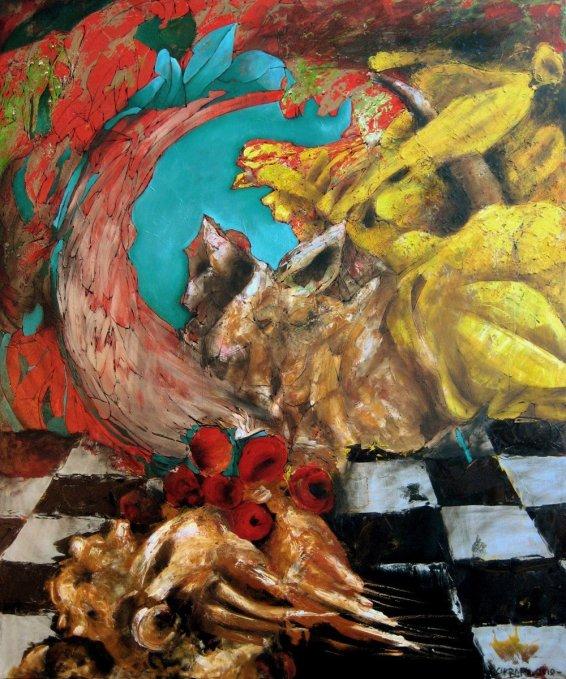 Gregorio y la multiplicación de las manzanas - óleo sobre lienzo - 160 x 140 cm