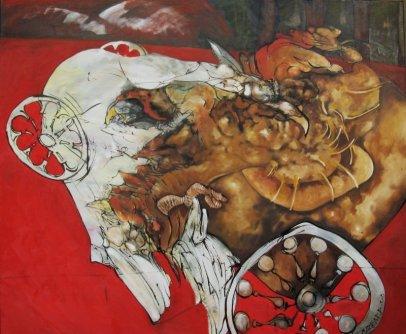 Riña de gallos - óleo sobre lienzo - 100 x 120 cm