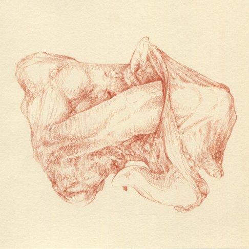 Costumbres sensuales V - sanguina sobre papel - 20 x 20 cm
