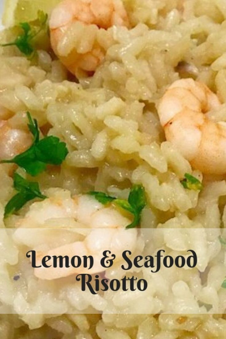 Lemon and Seafood risotto image for pinterest