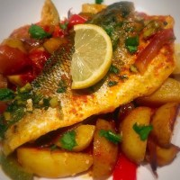 Harissa Seabass and Roasted Vegetables