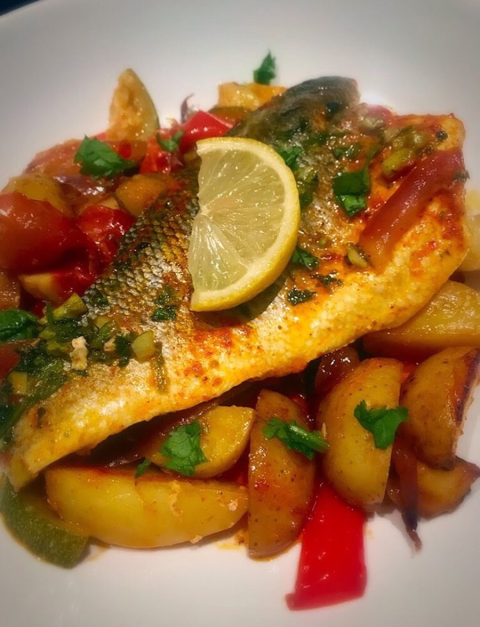 Harissa Seabass and Roasted Vegetables