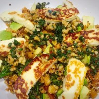 Chickpea Quinoa with Halloumi and Honey Walnut Dressing