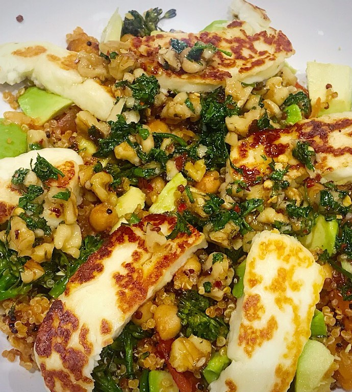 Chickpea Quinoa with Halloumi and Honey Walnut Dressing
