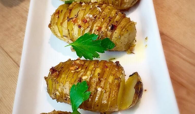 Garlic and Rosemary hassleback potatoes