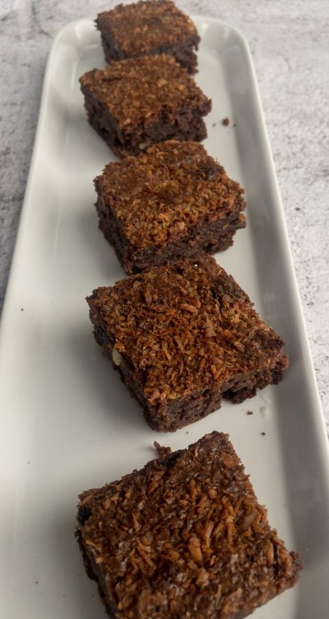 Sour Cherry and Coconut Brownies