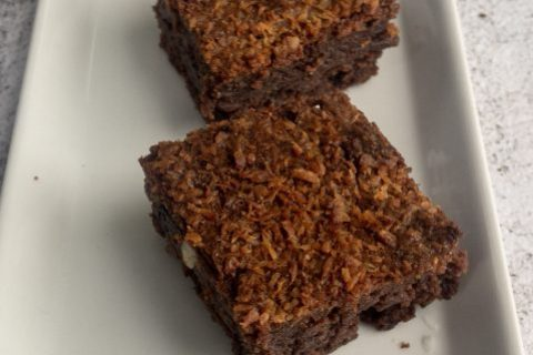 Sour cherries and coconut brownies