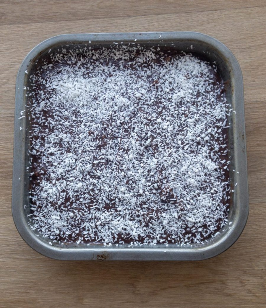 Uncooked brownies with shredded coconut topping