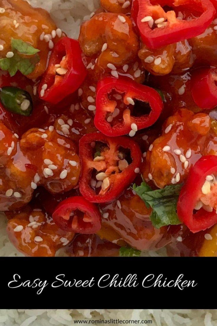 Pinterest Image for sweet chilli chicken