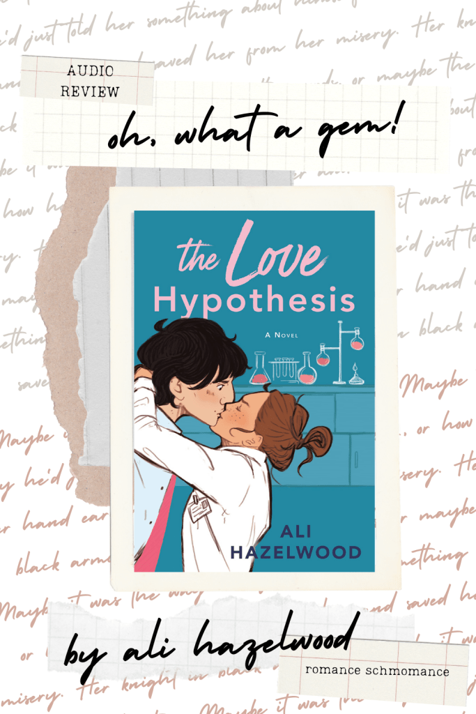 A couple kissing in what looks like a classroom with beakers and a bunsen burner. Has the book title, The Love Hypothesis by Ali Hazelwood.