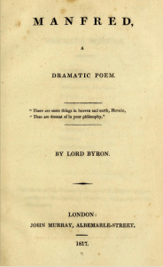 Title Page - Byron's Manfred