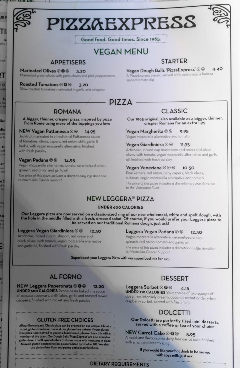 Vegan Menu at Pizza Express Review