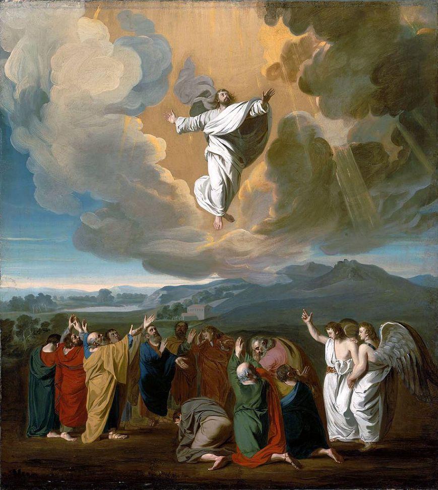Kiedy jeszcze wpatrywali się w Niego, jak wstępował do nieba, przystąpili do nich dwaj mężowie w białych szatach. I rzekli: «Mężowie z Galilei, dlaczego stoicie i wpatrujecie się w niebo?»