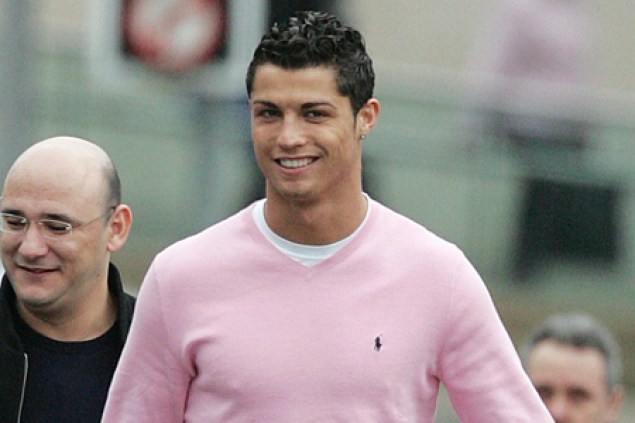 Cristiano Ronaldo in a pink gay shirt