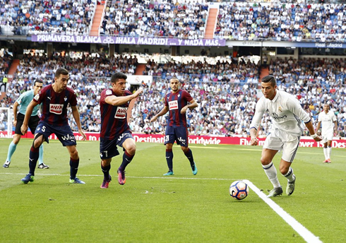 Cristiano Ronaldo preparing to make a cross in a league game for Real Madrid against Eibar