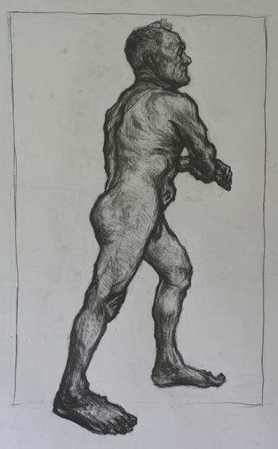 'Man standing and leaning' - pencil on paper