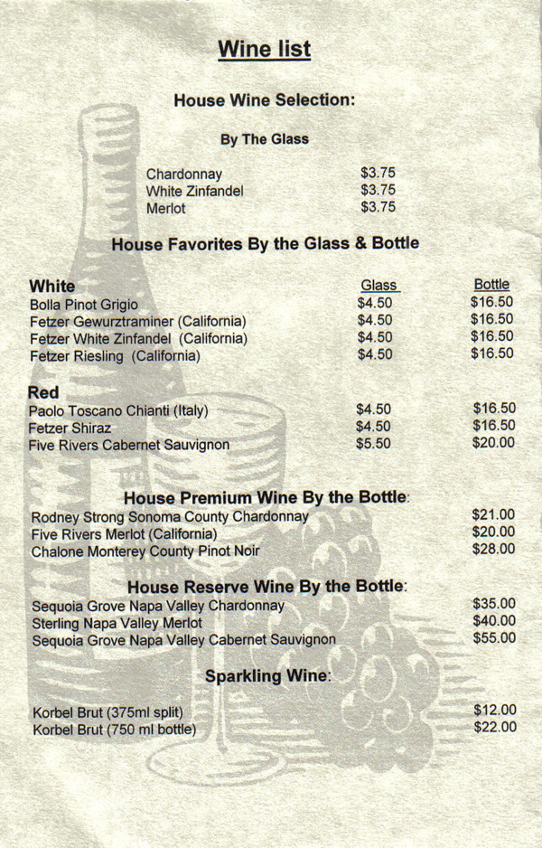 Restaurant Menu List Price