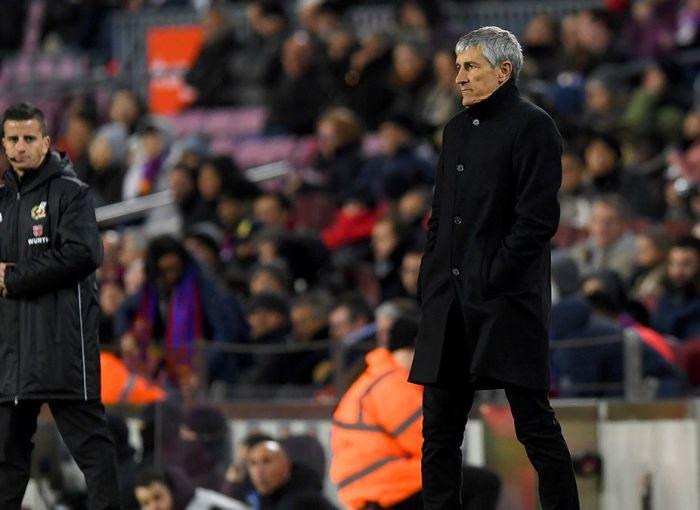 Quique Setién, en su primer partido como entrenador del FC Barcelona
