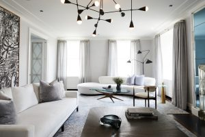 formal living room with modern accent pieces park avenue apartment.