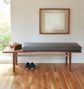 Wood and steel bench with wool cushion