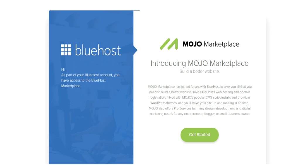 Bluehost 1-Click Install With Mojo Marketplace