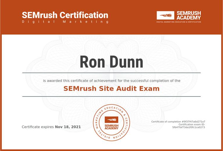 SEMrush site audit certification for Ron the Web Guy