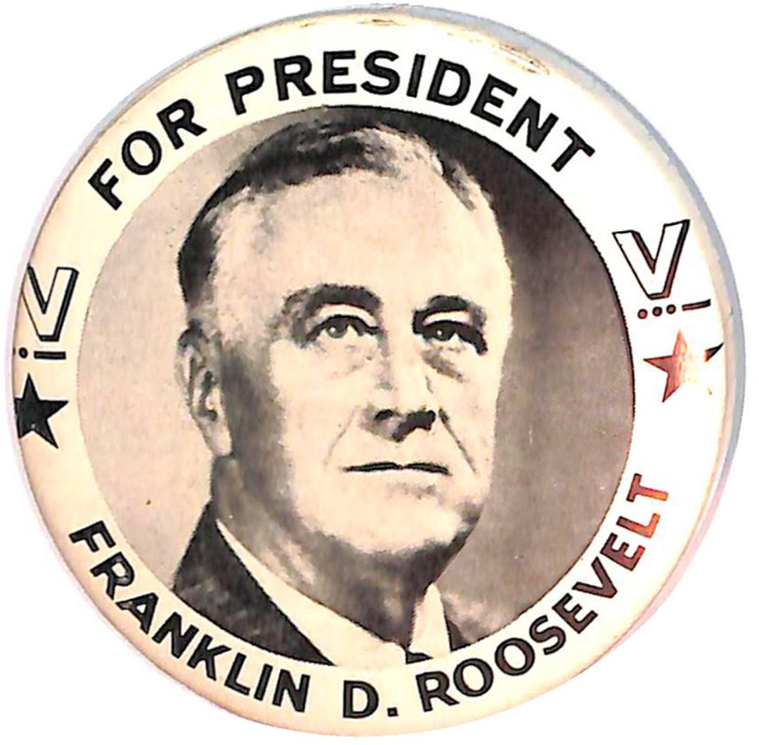 Franklin D Roosevelt Political Campaign Buttons And Fdr