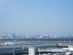 スカイツリーと着陸する飛行機