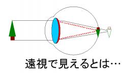 遠視で見えるというのは…水晶体の調節力に無理やり頼るということ