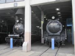 静かに収まる蒸気機関車たち