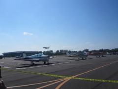 小型飛行機が多数並ぶ