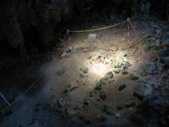 ここで石の棺と埋葬された人骨が発見された