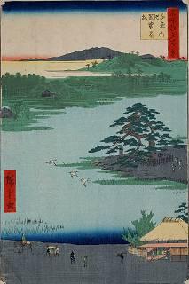 名所江戸百景「千束の池袈裟懸松」