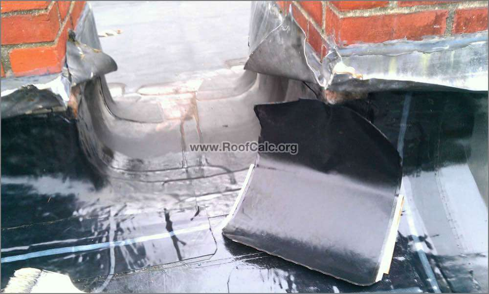 Rubber Roof Chimney Flashing Repair Installing 12 Inch Corner Patch