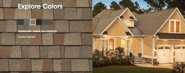 American Harvest roofing shingles colors